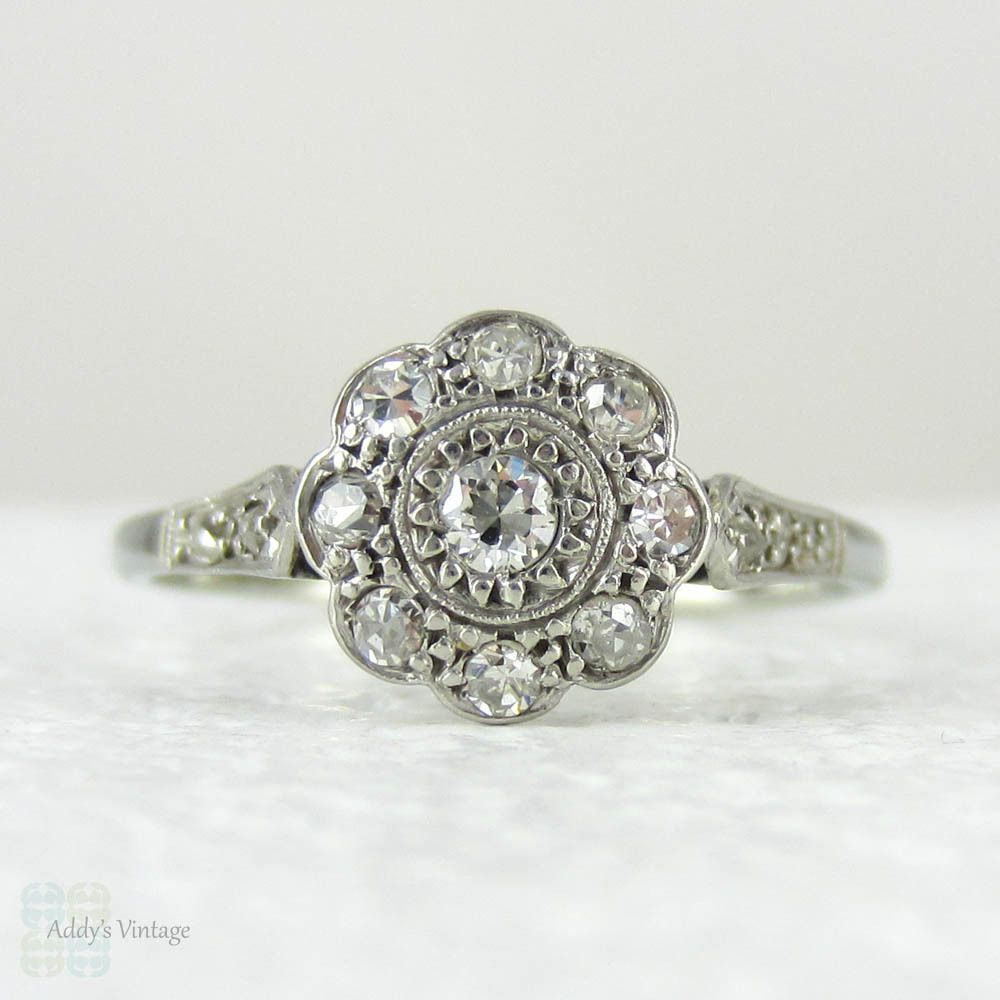 1920s Diamond Engagement Ring, Daisy Shaped Diamond Cluster Art Deco Diamond  Ring In White