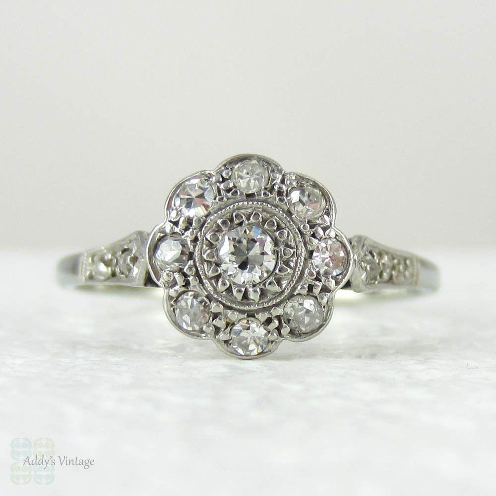 1920s Diamond Engagement Ring, Daisy Shaped Diamond Cluster Art Deco Diamond  Ring In White