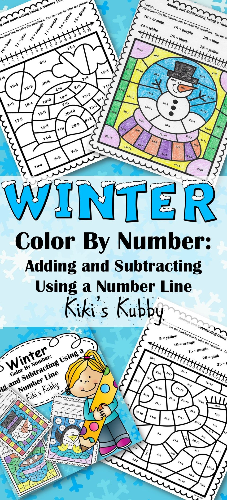 Winter: Color By Number Adding and Subtracting Using a Number Line ...