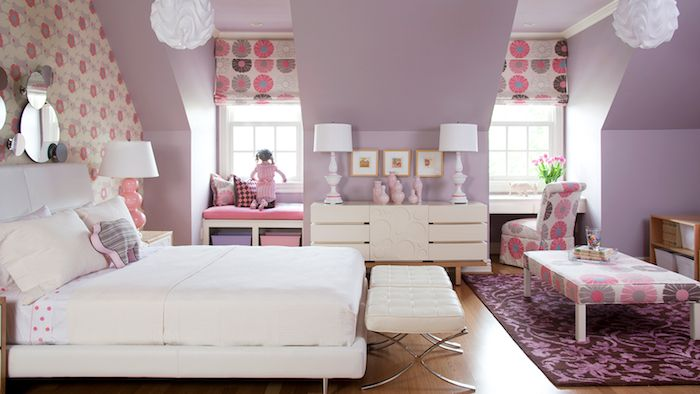 Mädchen Jugendzimmer Doppelbett Dezentes Design Ideen Lila Und