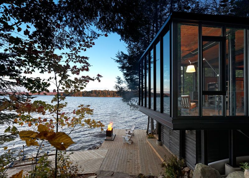 A New Modern Boat House On The Shores Of A Lake In Ontario Building Art Ontario Cottages House Design