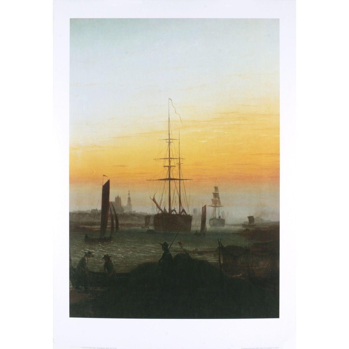 Refurbished Caspar David Friedrich Der Greiwalden Hafen Multicolored Poster, 35.5 x 27.5 inches