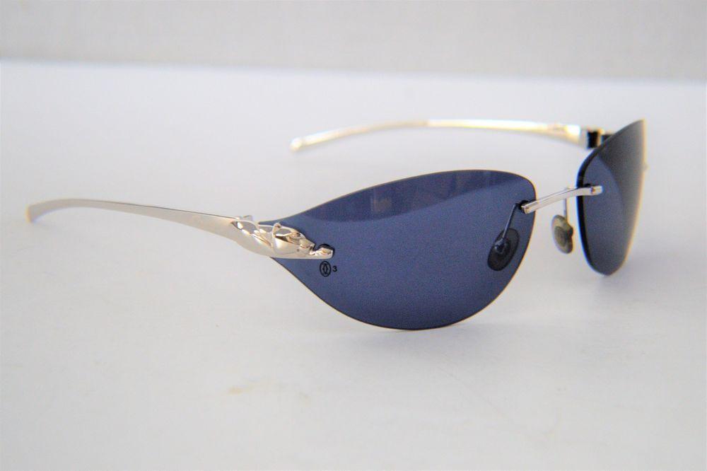 575af6000f3e7 Auth Cartier Panthere Silver Blue Lens Sunglasses 110 18  Cartier   Rectangular