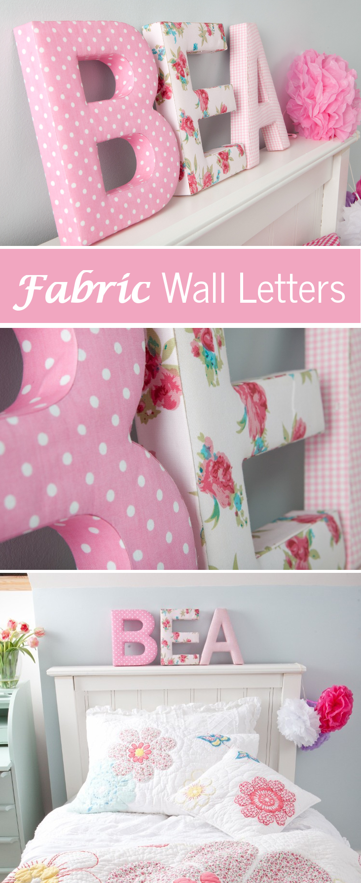 These sturdy fabric covered letters would look great in a for Where can you get fabric