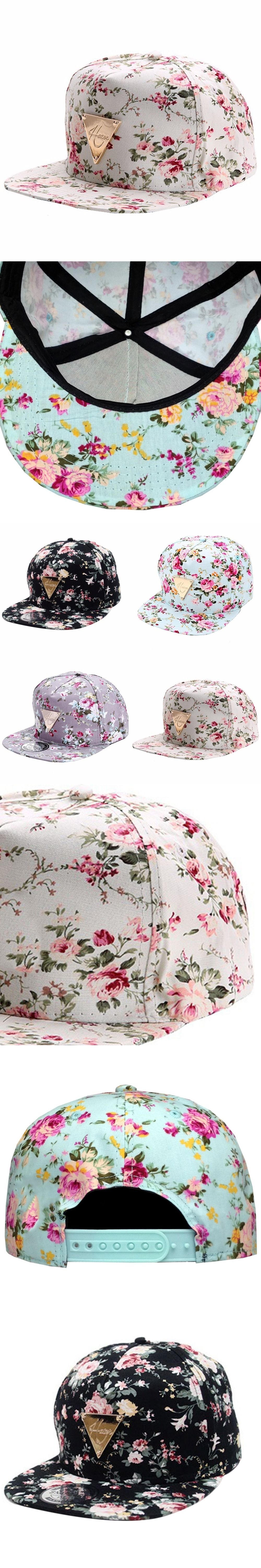 592e5e750cb Men Women Floral Snapback Hat Flower Baseball Cap Hip Hop Caps Hip-Hop Flat  Adjustable