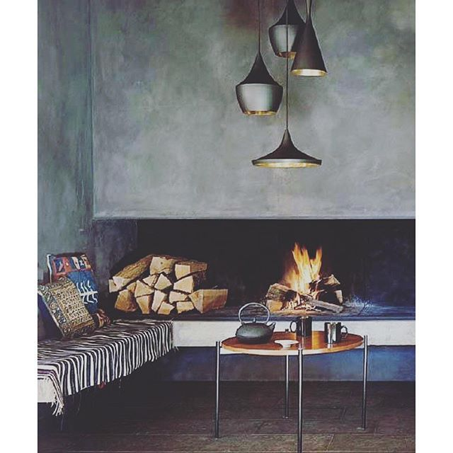 S T I L T J E On Instagram Fireplace With Tadelakt And Tom Dixon Lamps Love The Mix Tomdixon Stiltje Tadela Concrete Fireplace Fireplace Fireplace Design