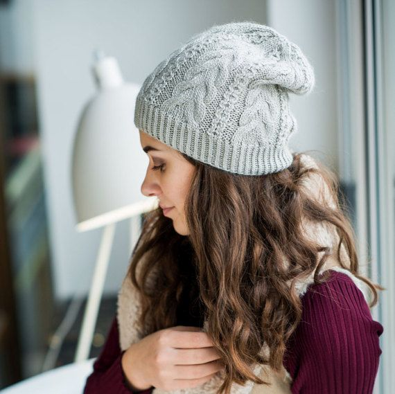 90dd6962719 Gray Beanie Hat Winter Hat For Women Knitted by TikvaBeauties