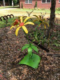 YELLOW NANCY SALVAGED STEEL FLOWER