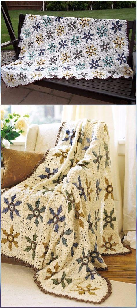 Crochet Elegant Floral Afghan Free Pattern Crochet Flower Blanket