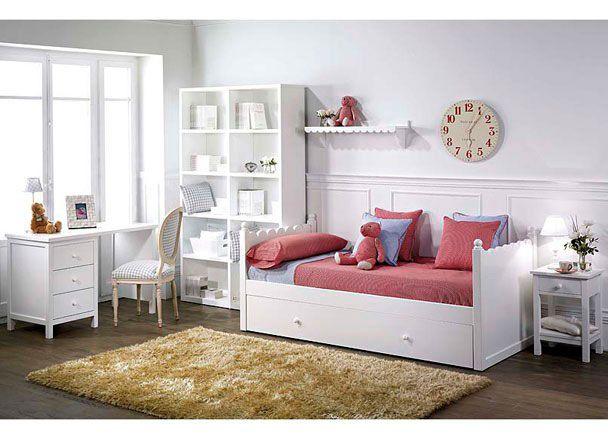 Habitaci n infantil lacada en blanco con cama nido novedades de mueble juvenil pinterest - Habitacion con cama nido ...