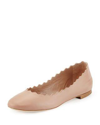 Scalloped Flat Chloe Ballet Leather Lauren 8OYW05