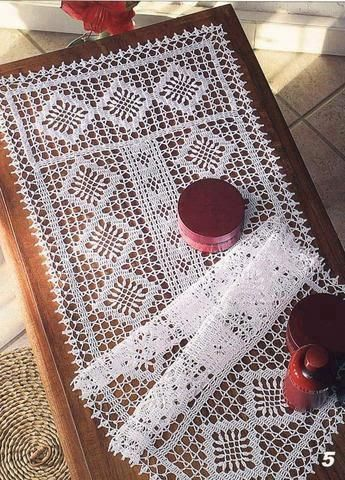Free Filet Crochet Table Runner Pattern Modern Coffee