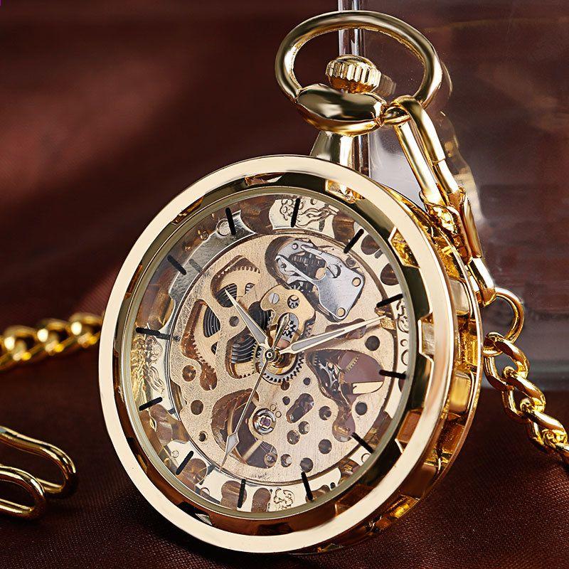 e0f6404b74c Esqueleto de luxo de Ouro Mecânico Mão-liquidação Homens FOB Mulheres  Steampunk Relógio de Bolso