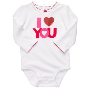 """I <3 you"" Long-Sleeve Slogan Bodysuit - Carter's"