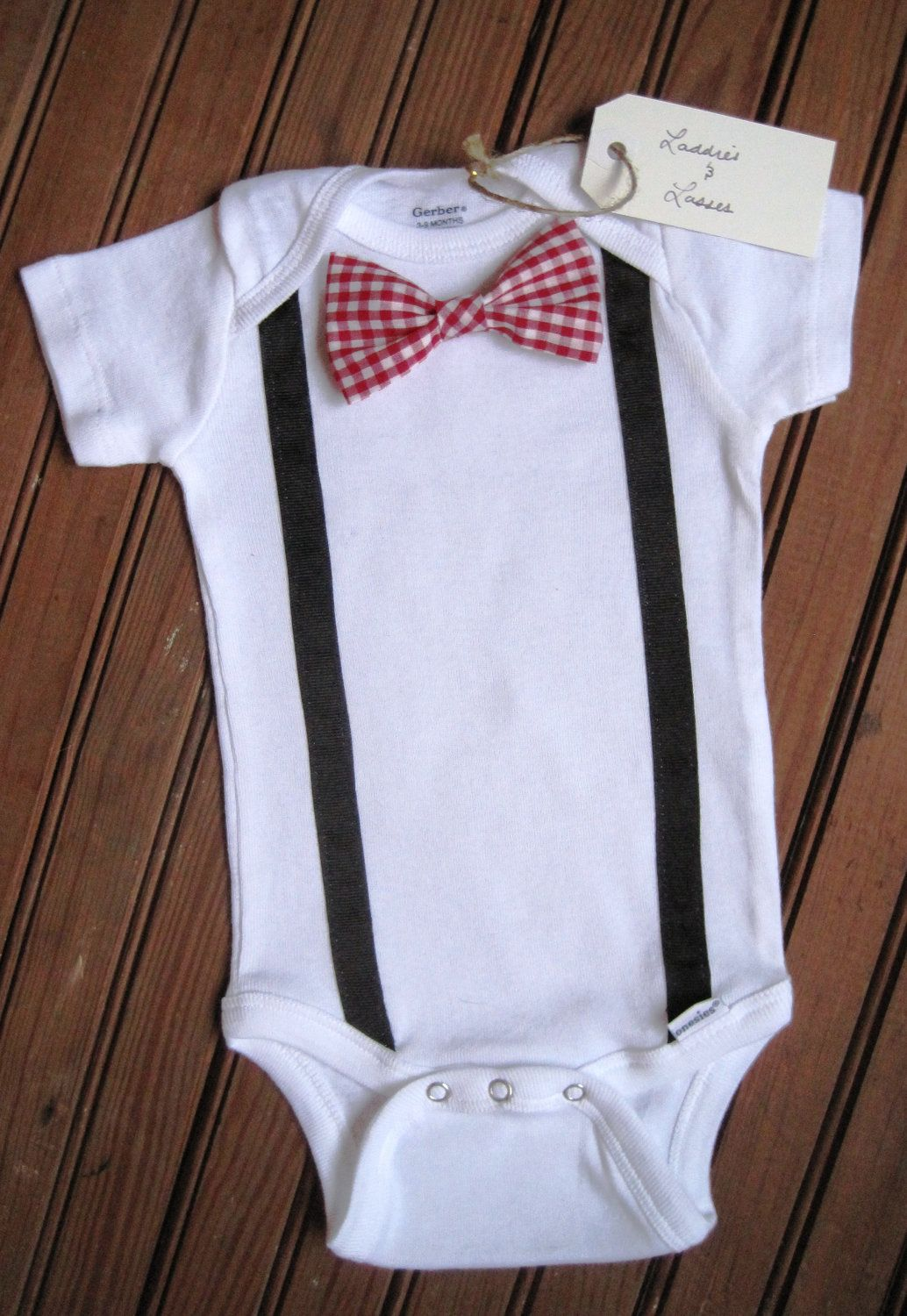 411c086a372c Short Sleeve Red Gingham Bow Tie Onesie with Suspenders