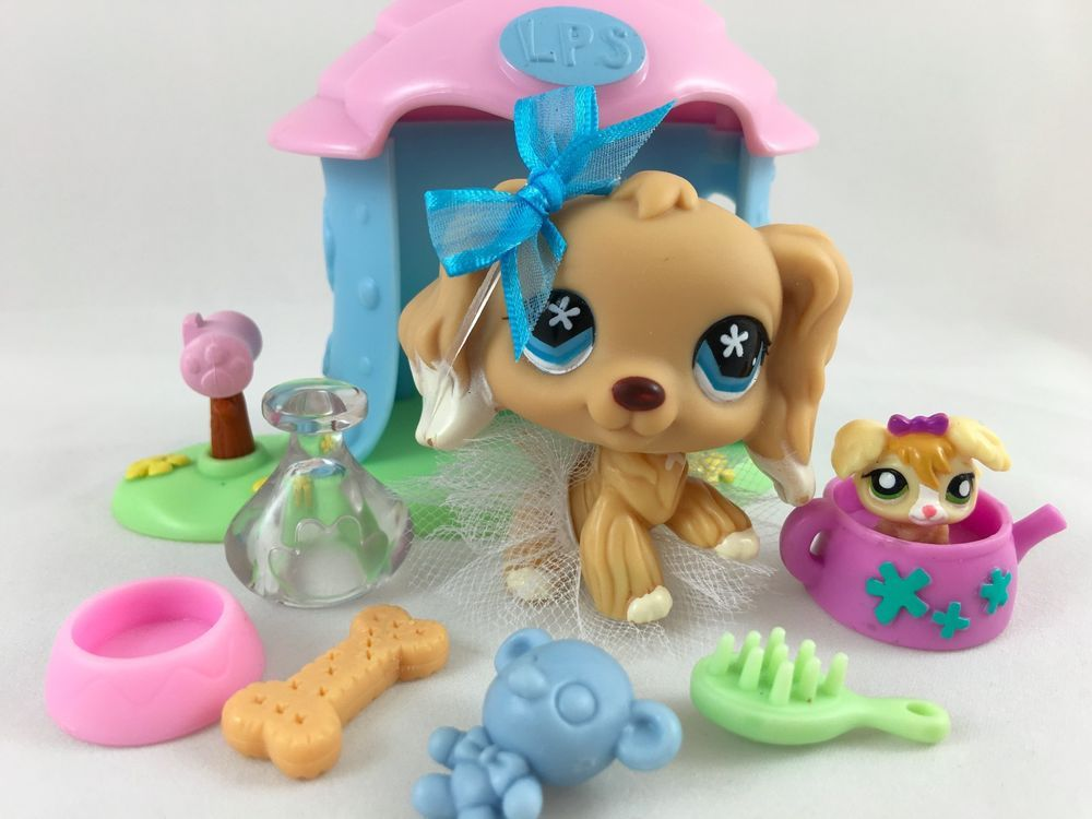 Littlest Pet Shop RARE Tan Cocker Spaniel #748 w/House, Teensie & Accessories