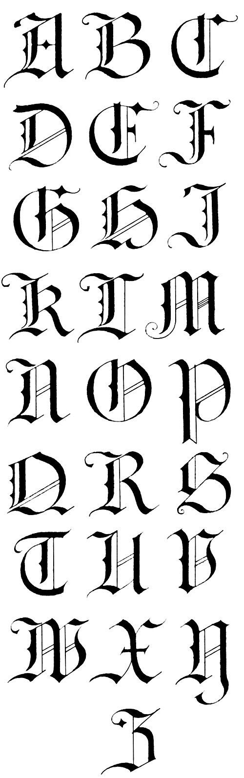 German Gothic Calligraphy Alphabet