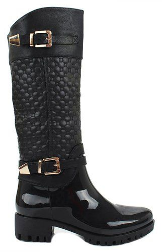 Women Forever Black Knee High Side Zip Riding Winter Rain Boots-10