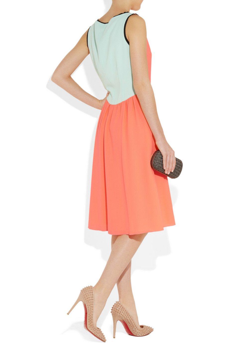 Roksanda Woman Layered Two-tone Crepe De Chine Mini Dress Peach Size 10 Roksanda Ilincic c4p2ft