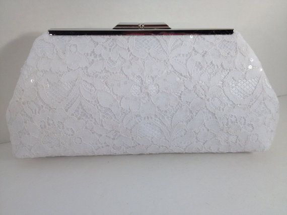 White Sequin Lace Clutch Purse with Silver Tone Frame, Bridal Clutch, Wedding, Special Occasion, Mothers Day Gift,  Bridal Shower Gift on Etsy, $28.00
