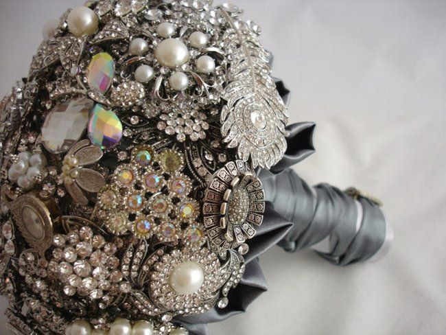 Lillybuds The Lavish Silver And Pearl Wedding Bouquet Of Brooches Heirloom