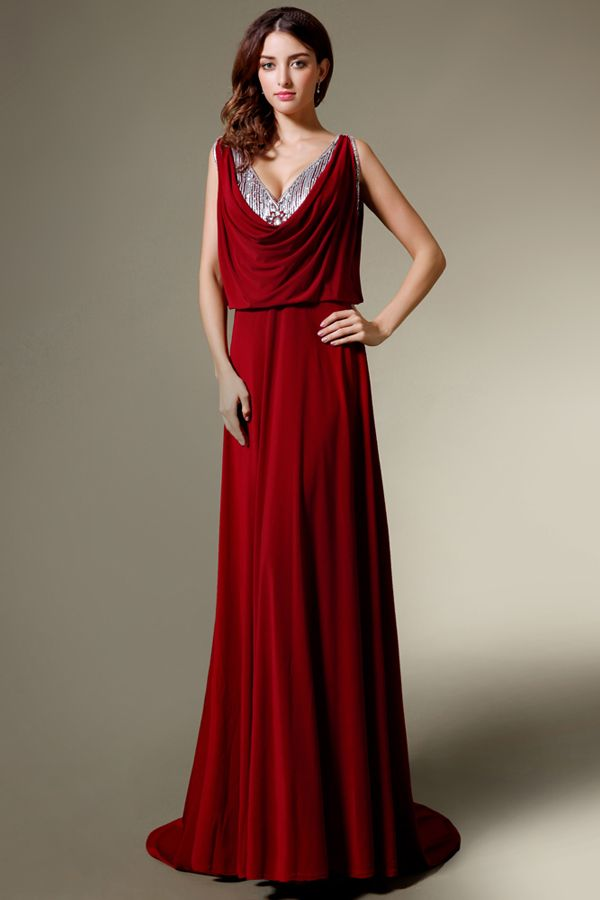 Red Cowl Neck Evening Gown For Black Tie Event 21st Birthday Black