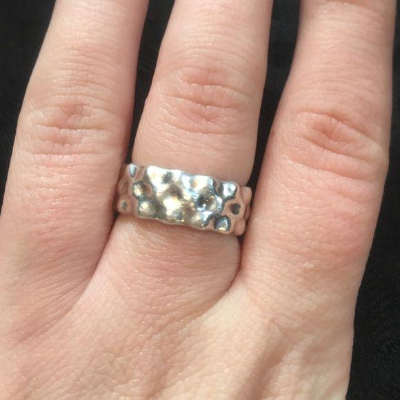 Pandora Ring Pandora Liquid Silver Large Wave Ring.  Size 7.  Great Condition. Pandora Jewelry Rings