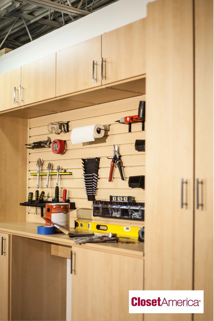 Wall mounted shelving and cabinets and tool holders for an organized ...