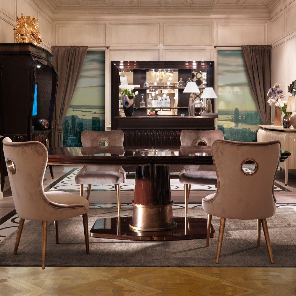 Superbe Large Walnut Art Deco Style Dining Table Set