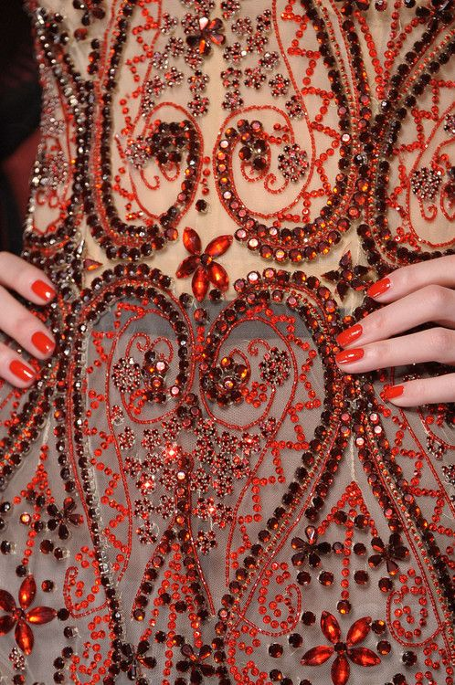 Jean Paul Gaultier. Red and sheer crystal detailing. #fashion
