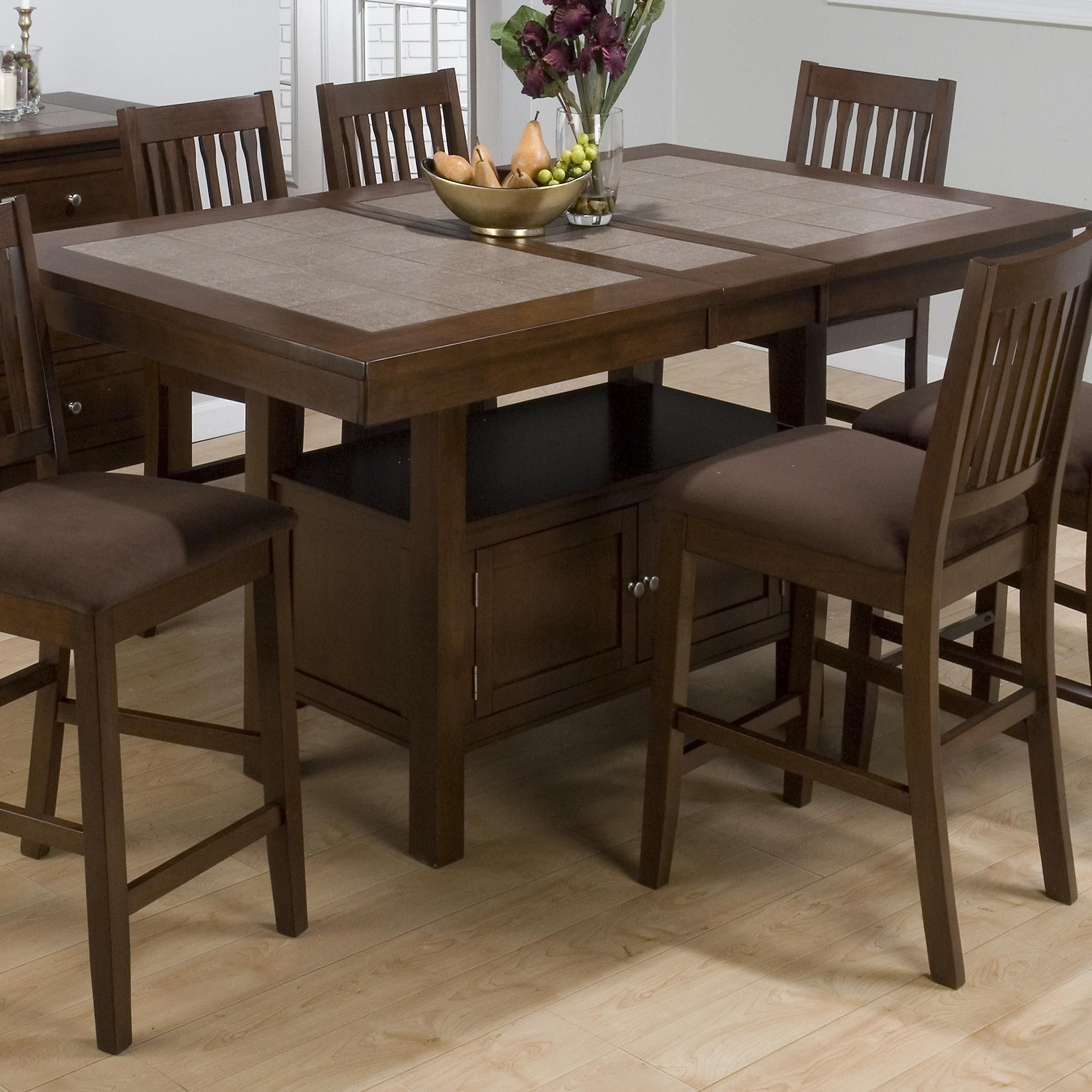 Nice Kitchen Table Sets: Beautiful Brown Counter Height Table. Perfect For The