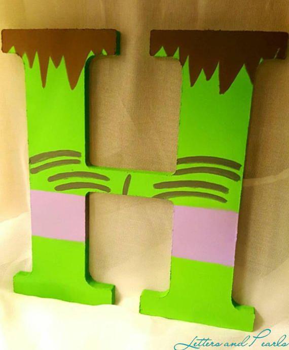 Hulk Painted H Marvel Comic Decor Boys Bedroom Decor Hulk Painted ...