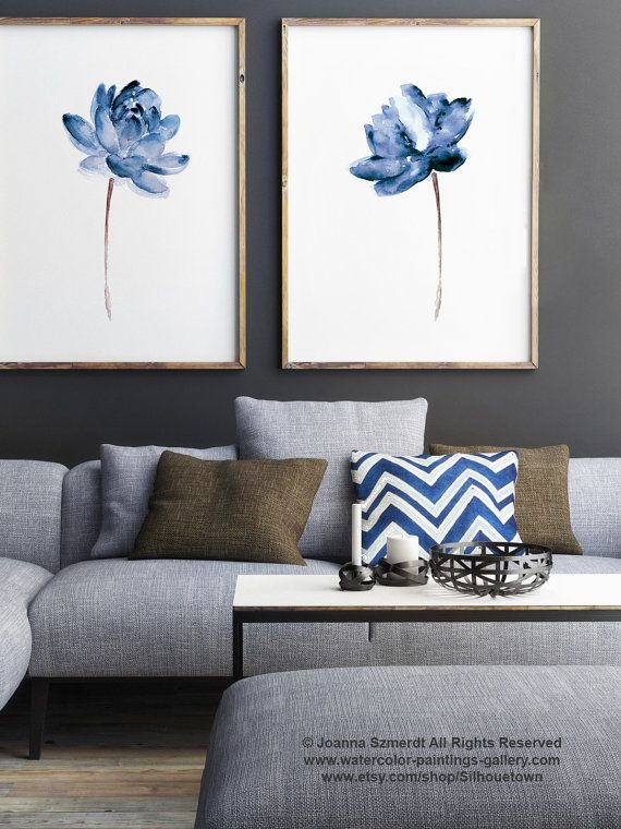 Photo of Lotus set of 2 watercolor, blue water floral canvas art print, modern floral illustration wall decor, abstract flower poster