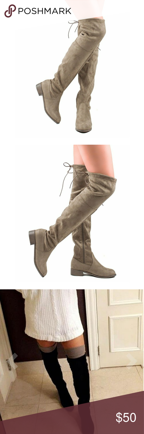 Boots Very cute women boot drawstring stretch faux suede, over the knee zip up long boot. *Only been used one in excellent conditions Shoes Over the Knee Boots