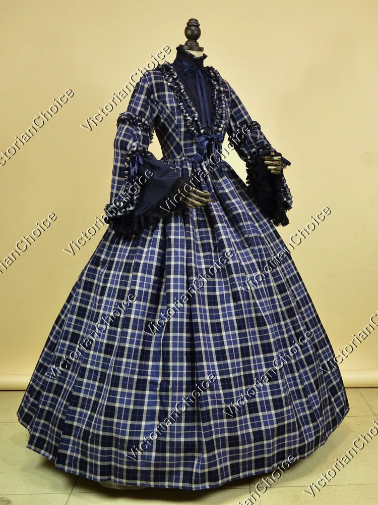 Civil War Victorian 3PC Tartan Vintage Ball Gown Dress Reenactment Theater  187
