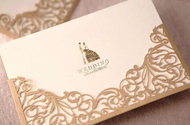 New design Lace Cutting Wedding Invitation In Gold foil stamping 50pcs/lot free shipping $65.00