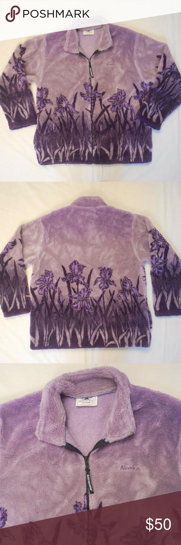 Black Mountain Fleece Jacket Full Zip Alaska Iris Beautiful Black Mountain Outdoor Fleece Jacket With Purple Iris Flower Fleece Jacket Jackets For Women Fleece [ 1740 x 580 Pixel ]