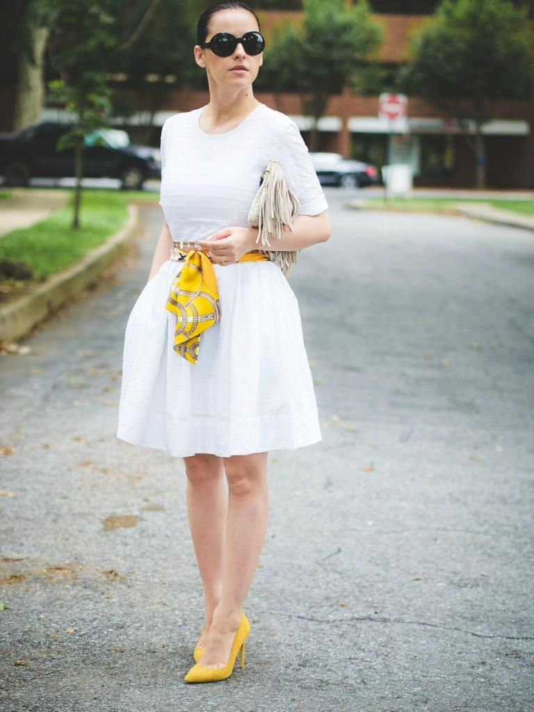 7 Ways To Style Your Summer Whites Glam Radar White Dress Summer Yellow Pumps Outfit Summer Dresses [ 1024 x 768 Pixel ]