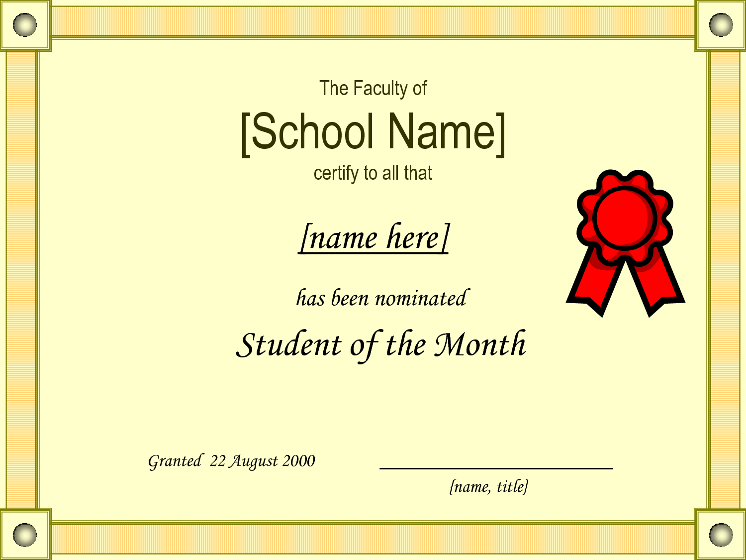 Student Of The Month Award Template Kubreforic