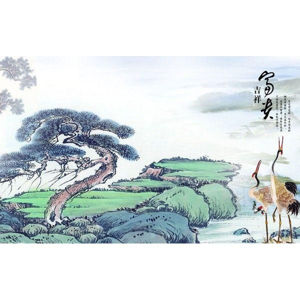tapisserie num rique sur mesure style asiatique paysage avec les cigpgnes papier peint. Black Bedroom Furniture Sets. Home Design Ideas