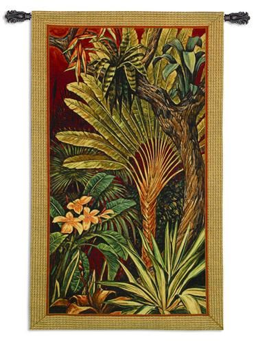 Bali Garden Ii Tapestry Wall Hanging Botanical Composition 35in X 60in
