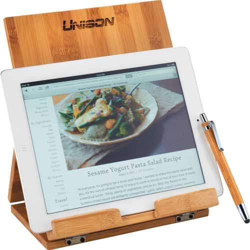 Tablet Or Recipe Book Stand With Ballpoint Stylus Whether preparing a new dish or just enjoying your morning coffee in the kitchen, this 2-piece set is the perfect accompaniment. Bamboo stand is perfect for propping up any touch screen tablet or favorite recipe book. Bamboo ballpoint stylus keeps sticky fingers off of tablet screen and offers ballpoint pen option for making any notes. Ballpoint stylus has black ink.