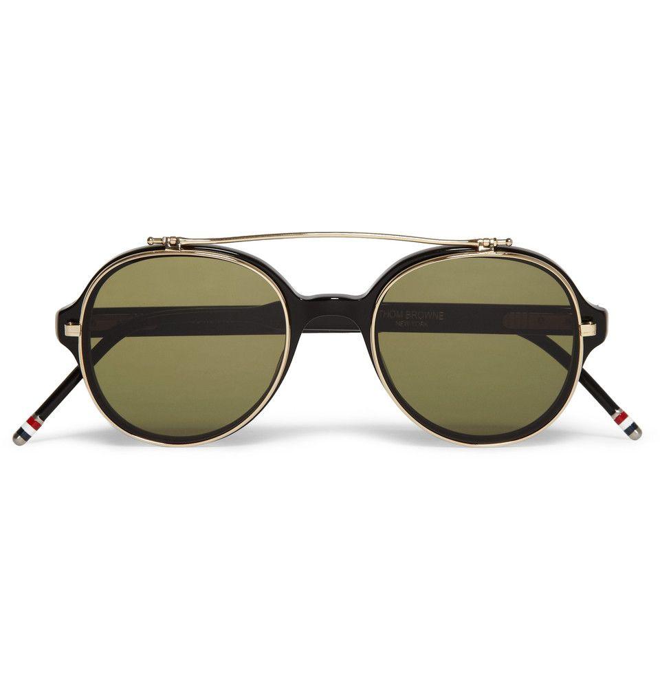 24ee2ccbdee7 Thom Browne Round-Frame Flip-Lens Optical Glasses