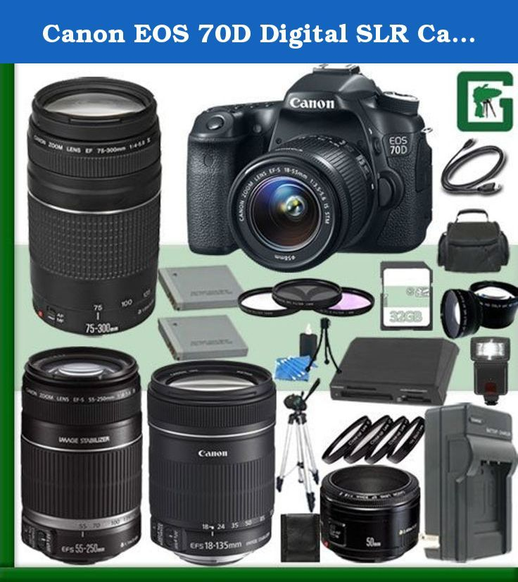Canon EOS 70D Digital SLR Camera Kit with 18-55mm IS STM Lens and Canon EF 75-300mm III Lens and Canon 50mm f/1.8 Lens and Canon 55-250mm Lens and Canon 18-135mm Lens + 32GB Green's Camera Package. The Canon EOS 70D DSLR Camera features a 20.2 megapixel APS-C CMOS sensor and DIGIC 5+ image processor to ensure high-resolution images and excellent low-light sensitivity. Both the sensor and processor work together to produce well-detailed, clear imagery that exhibits natural tonality and…
