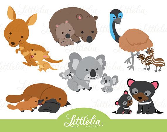 Australia Animal Mom And Baby Motherhood Clipart 17046 Etsy Australia Animals Clip Art Animals For Kids