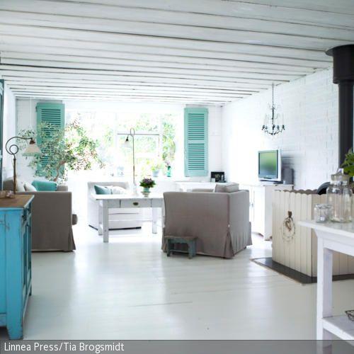 Blauer Vintage-Schrank - schrank wohnzimmer weiß