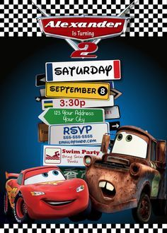 Cars 3rd Birthday Invitation