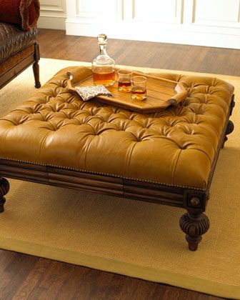 Old Hickory Tannery Oversized Tufted Leather Ottoman Tufted