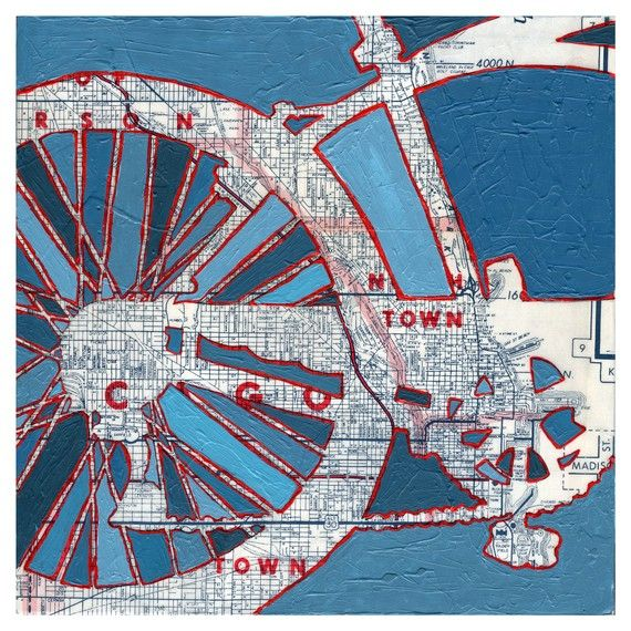 map and acrylic print of bicycle