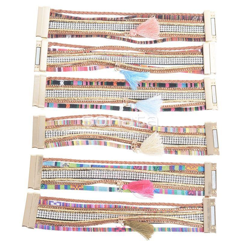 Pulseras etnicas con imán en colores www.sonatachic.com #eticno #pulseras #cool #ethinc #sonata #chic #bisuteria #snt #moda #fashion #tendencia #collares #gargantillas #anillos #outfits #complementos cubrebotas #joyas #broches #tobilleras  #bolsas #expositores #llaveros #accesorios #pelo #gemelos
